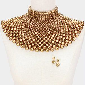 Gold Pearl Armor Bib Choker Necklace